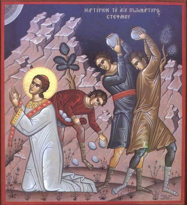 St. Stephen being stoned